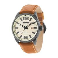 Timberland Men's Watch Ellsworth Analog Beige Dial Tan Leather Band 46mm Case
