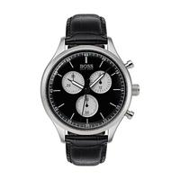 Hugo Boss Men's Watch Companion Analog Black Dial Black Leather Band 43mm  Case