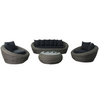 Albaida Aluminium Wicker Sofa Set With  Cushions (Delivered within 7 business days)