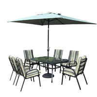 Jamila Textline Steel Patio Set 9Pcs With Umbrella Base