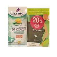شامزا شرائح شمعية طبيعية بالخيار لإزالة شعر الوجه 20 قطعة مع رول بالألوفيرا 210 مل