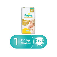 Pampers Premium Care Diapers Size 1 Newborn 2-5 kg Mid Pack 50 Count