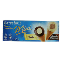 Carrefour Ice Cream Cones Mini Black & White Chocolate 25g x10