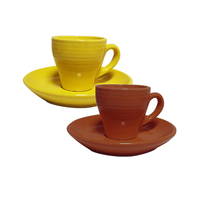 Cup & Saucer Assorted Colours 6 Pieces