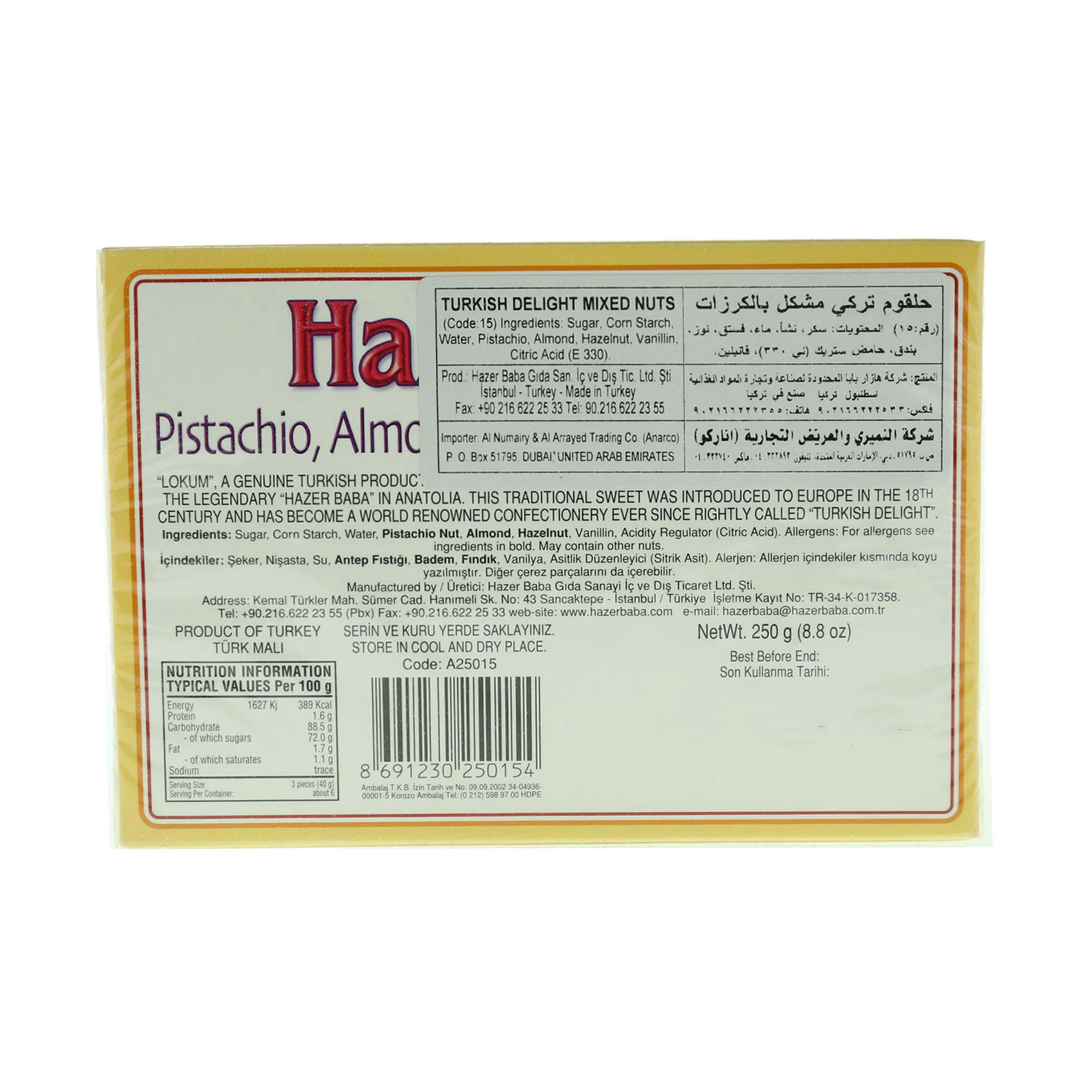 HAZER BABA MIXED NUT DELIGHT 250GR