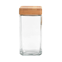 Style House Acrylic Wooden Square Jar With Cover 700ML