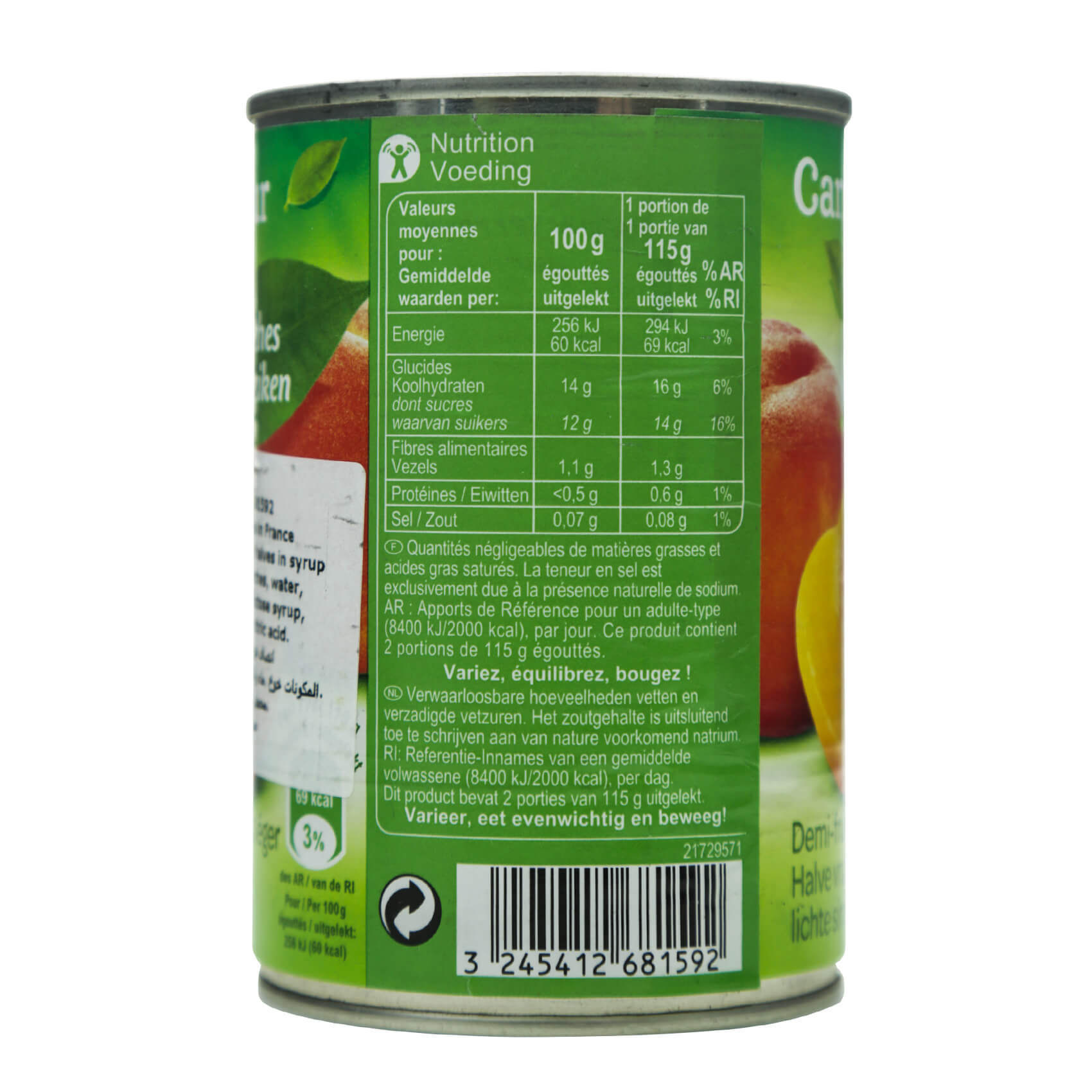 CRF PEACHES WITH SYRUP 425ML