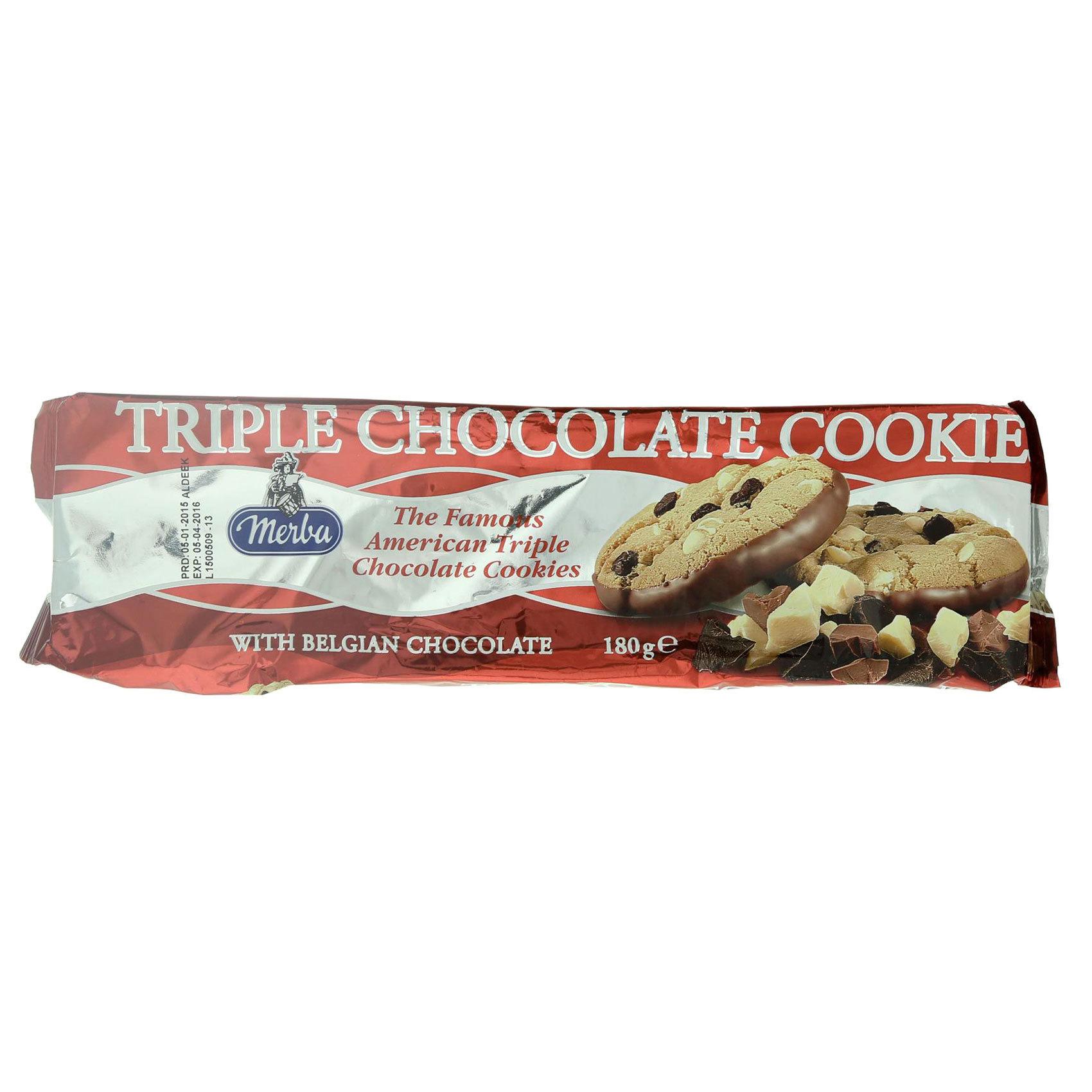 MERBA TRIPLE CHOCOLATECOOKIES 180G