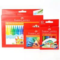 Faber-Castell Fiber Tip Color markers 20+Triangular Wax Crayon 12+Color Pencil 12