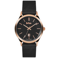 Lee Cooper Men's Analog Rose Gold Case Black Super Metal Strap Black Dial -LC06291.450