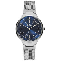 Lee Cooper Women's Analog Silver Case Silver Super Metal Strap Blue Dial -LC06336.390