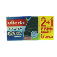 Vileda Glitzi Flexible Dish Washing Sponge Scourer 2Pcs+ 1Pc Free