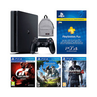 Sony Ps4 Console 500GB Slim+ Grain Turismo Sport+ Horizon Zero Dawn+ UnCharted 4+ 3 Months Playstation Plus Membership+ Bag-Grey Color