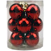 Balls Set Shiny Plain 12Pcs 3Cm Red
