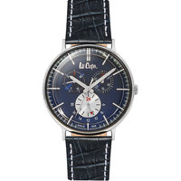 Lee Cooper Men's Multi-Function Silver Case Blue Leather Strap Blue Dial -LC06383.499