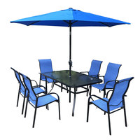 Azrak Textline Steel Dining Set 8Pcs With Umbrella Without Base