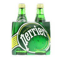 Perrier Natural Sparkling Mineral Water Glass Bottle 4 x 330 ml