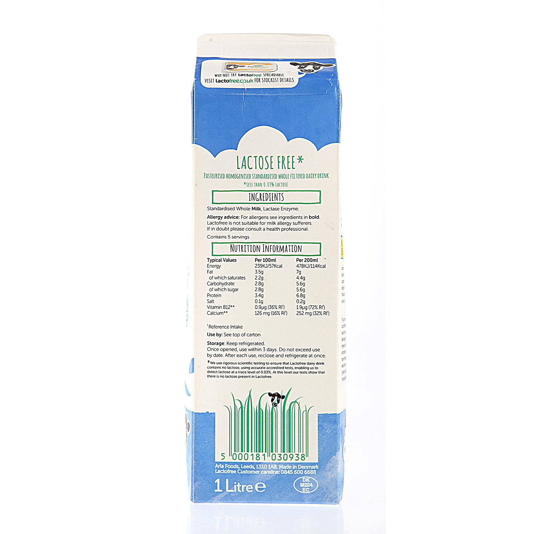 ARLA LACTOFREE WHOLE FRSH MILK 1L