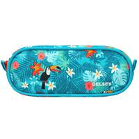 Delsey School 2018 2-Cpt Pencil Case Turquoise Tropical