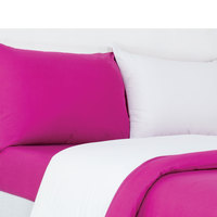Tendance Full Cmforter 4pc Set White/Fuschia