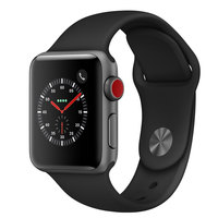 Apple Watch Series-3 38mm GPS+ Cellular Gray Aluminium Case With Black Sport Band (MQKG2AE/A)