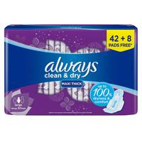 Always Mesh Maxi Thick, Large sanitary pads with wings, 50 count