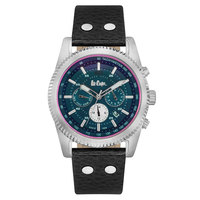 Lee Cooper Men's Multi-Function Silver Case Black Leather Strap Black Dial -LC06188.351