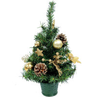 Christmas Mini Tree PVC With Ball Flower Pinecone Decoration-Gold 45cm