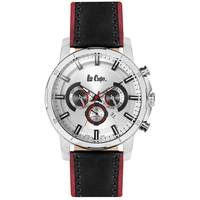 Lee Cooper Men's Multi-Function Silver Case Black Leather Strap Silver Dial -LC06308.399