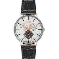 Lee Cooper Men's Multi-Function Silver Case Black Leather Strap White Dial -LC06383.361