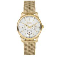 Lee Cooper Women's Multi-Function Gold Case Gold Super Metal Strap Silver Dial -LC06201.130