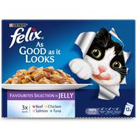 Purina Felix Wet Cat Single Serve As Good as it Looks Favorites Selection 100g (Pack of 12)