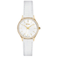 Lee Cooper Women's Analog Gold Case White Leather Strap Silver Dial -LC06302.133