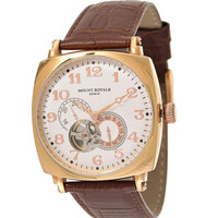 Mount Royale Men's Watch White Dial Leather Band Sport-10710