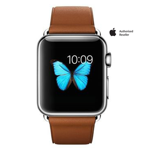 Apple-Iwatch-Stainless-Steel-38mm-Case-Brown-Band
