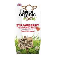 Daioni Organic Semi Skimmed Strawberry Milk 200ml