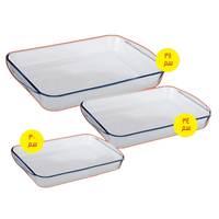 Pyrex Oven glass Dish Set 30+34+38 Cm