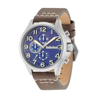 Timberland Men's Watch Brenton Analog Blue Dial Brown Leather Band 46mm Case