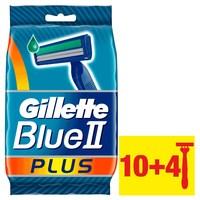 Gillette Blue II Plus Mens Disposable Razors, 10+4 count