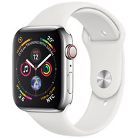 Apple Watch Series-4 GPS + Cellular 44mm Stainless Steel Case with White Sport Band (MTX02AE/A)