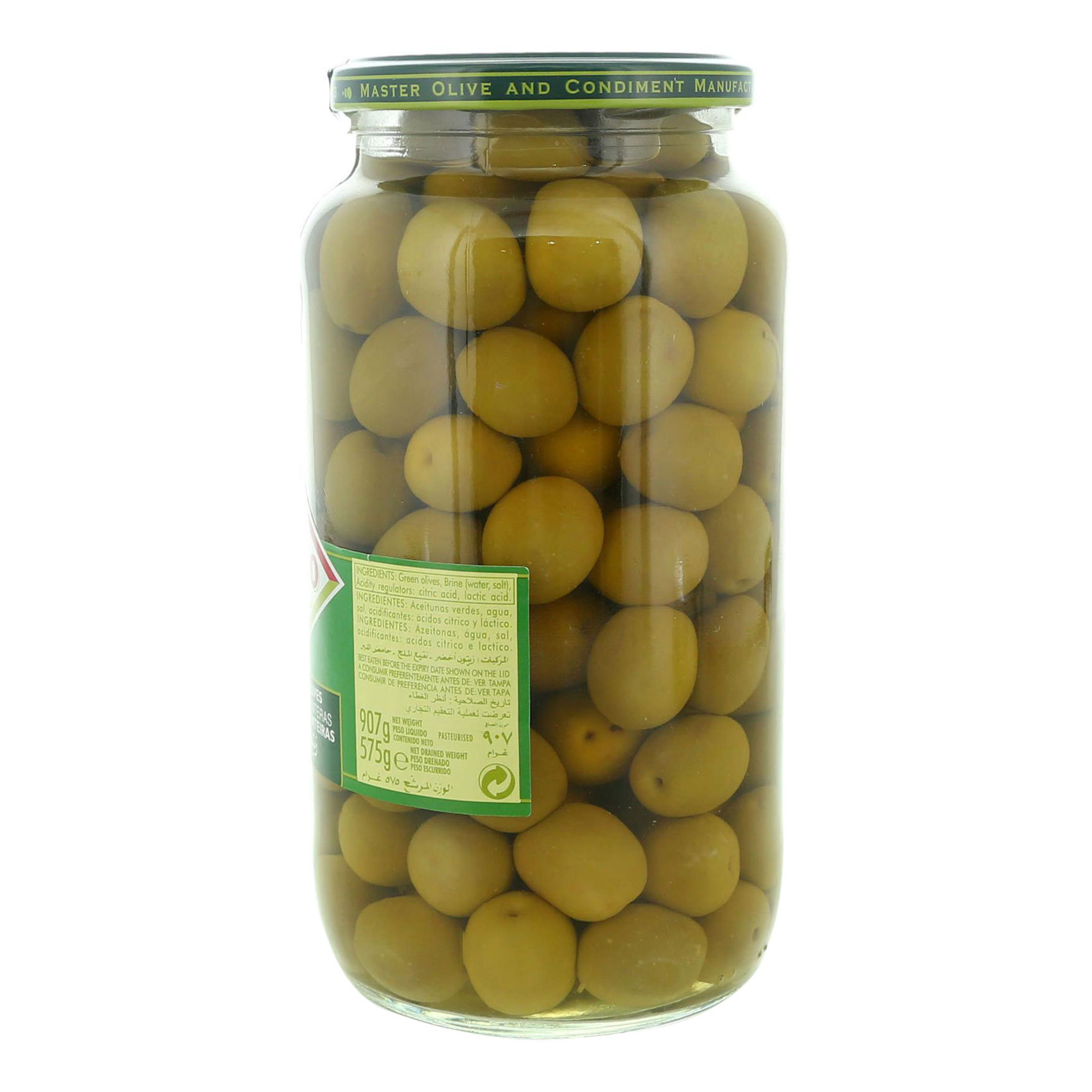 CRESPO WHOLE GREEN OLIVES JAR 575GR