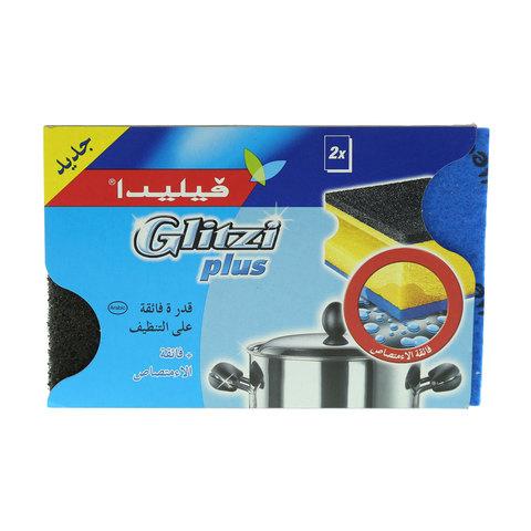 Vileda-Glitzi-Plus-Sponge-Scourer-Dish-Washing-High-Foam-2Pcs