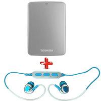Toshiba Hard Disk Drive 2TB Canvio Basics Grey+Toshiba Bluetooth Headset