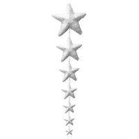 Christmas Garland of Glitter Hanging White Polyfoam 7 Stars