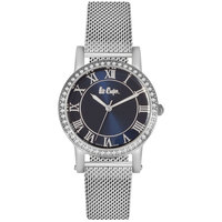 Lee Cooper Women's Analog Silver Case Silver Super Metal Strap Blue Dial -LC06353.450