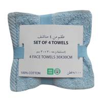 4 Pcs Pack Face Towel 30x30cm Blue