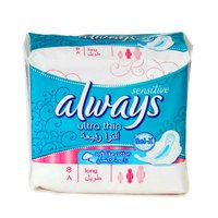 Always Ladies Pads Ultra Thin Long Sensitive 8 Napkins