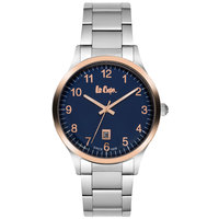 Lee Cooper Men's Analog Silver Case Silver Super Metal Strap Blue Dial -LC06308.331
