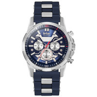 Lee Cooper Men's Chronograph Silver Case Blue Resin Strap Blue Dial -LC06360.442