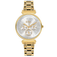 Lee Cooper Women's Multi-Function Gold Case Gold Super Metal Strap Silver Dial -LC06335.130